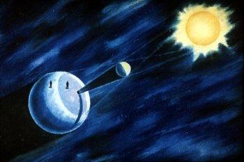 Рис. 1. Схема солнечного затмения
