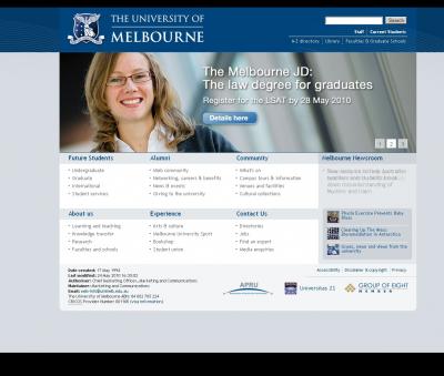 Первая страница сайта университета
