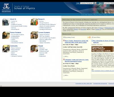 Сайт факультета наук, в число которых входит физика