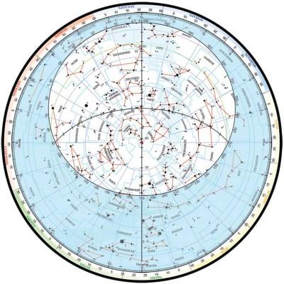 Подвижная карта звездного неба, вид сверху