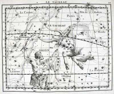 Созвездия Тельца и Ориона из атласа Дж. Флемстида