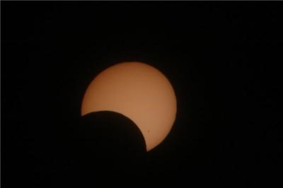 Затмение, вид в телескоп