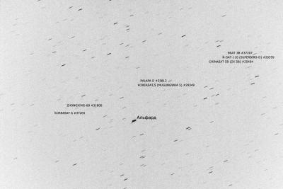 Аннотированная область близ Альфарда с геостационарными спутниками
