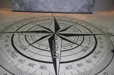 Если опустить глаза, то увидите компас с координатами Центра.