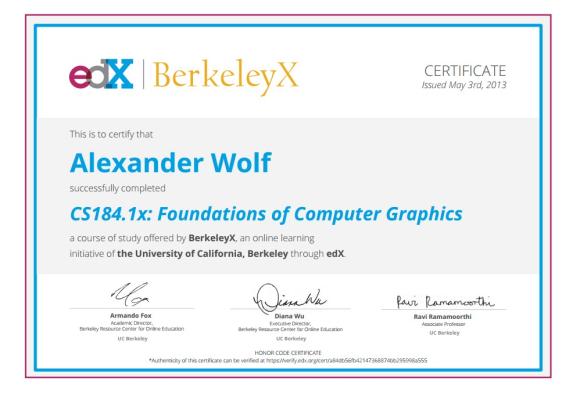 Сертификат об окончании курса CS184.1x