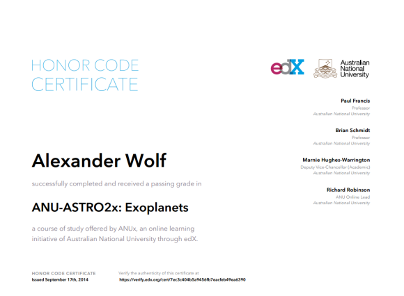 Сертификат об окончании курса ANU-ASTRO1x