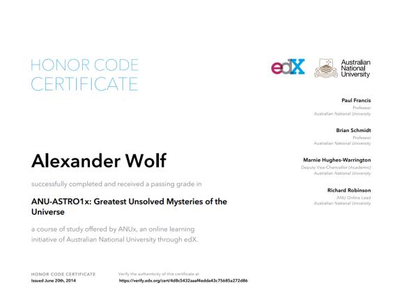 Сертификат об окончании курса ANU-ASTRO1x.